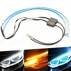 60cm Led Drl Light Amber Sequential Flexible Turn Signal Strip Headlight 12v D