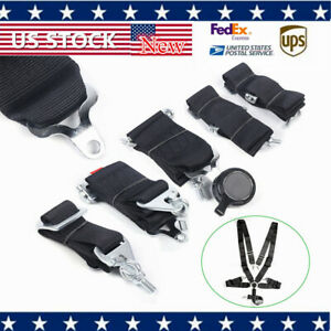 3 Inch Strap 5 Point Quick Release Camlock Racing Harness Seat Belt Black