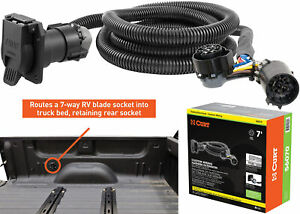 Curt 56070 7 Vehicle side Truck Bed 7 pin Trailer Wiring Harness Extension New