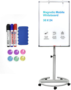 Mobile White Board 36x24 Inch Standing Dry Erase Easel Board White