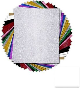Glitter Heat Transfer Vinyl Bundle 18 Pack 12 x 10 Sheets Glitter Vinyl Htv