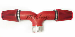 Dual Coated Red For 2001 2004 Chevy Corvette C5 5 7l V8 Twin Air Intake Kit
