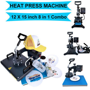 8 In1 Digital Heat Press Machine Combo Transfer Printing T shirt Mug Hat 12 x15