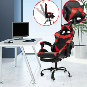 1pc Computer Office Chair 155 mobile Recliner High Back Pu Leather Gaming Chair