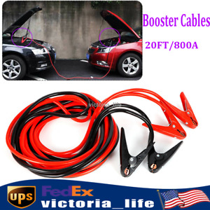 Booster Cables 2 Gauge Jumper Leads Emergency Power Jumper 20ft 800a New