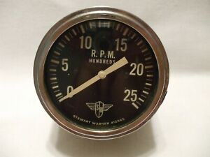 Stewart Warner Wings 2500 Rpm Tachometer Brass Case Curved Glass Angle Drive Vtg