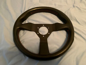 Momo Monte Carlo 320mm Black Leather Red Stitch Steering Wheel