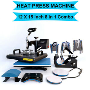 8 In1 Heat Press Machine Combo Digital Transfer Printing T shirt Mug Hat 12 x15