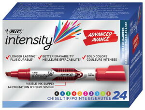 Bic Intensity Advanced Dry Erase Low Odor Marker Tank Chisel Tip Assorted