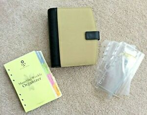 Franklin Covey 365 Compact 1 Snap Planner Binder Tan Canvas Blk Leather Extras
