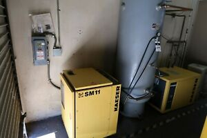 Kaeser Sm11 10hp Rotary Air Compressor Dryer And Air Tank 5627