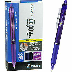 Pilot Frixion Ball Clicker 0 7 Retractable Erasable Purple Gel Ink Pen Bx Of 12