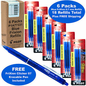 Frixion Pen Refills 0 7mm Blue Gel Ink 6 Packs Of 3 With Blue Frixion Pen