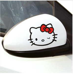 A Pair Of Black Cute Hello Kitty Rearview Window Car Decal Stickers