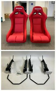 Pair 2 Seats Bride Vios Red Gradation Cloth Seat Rails Dc5 Rsx 2002 2006