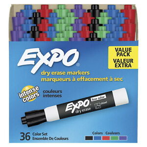 Expo Low Odor Dry Erase Markers Chisel Tip Assorted Colors Set Of 36
