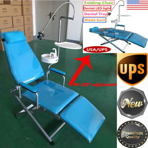 Dental Portable Folding Chair Led Surgical Light Lamp water System Supply tray