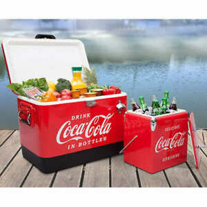 Classic Iconic Coca-Cola Ice Chest Cooler Beach Pool Park Camping Bundle @@