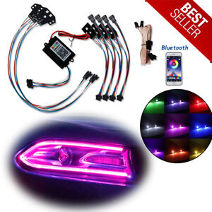 For 2015 19 Dodge Charger Rgbw Multicolor Led Drl Lights Headlight Retrofit Kit