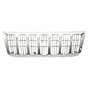 New Grille Chrome Fits Jeep Grand Cherokee 1999 2003 Ch1200221 55155921ab