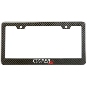 Mini Cooper S License Plate Frame Carbon Fiber Look Style Glossy Plastic