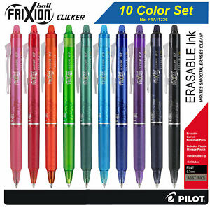 Pilot Frixion Clicker 07 11336 Retractable Erasable Gel Ink Pens 10 Color Set
