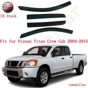 Window Visor Vent Rain Guard Shield Trim For Nissan Titan Crew Cab 2004 2015