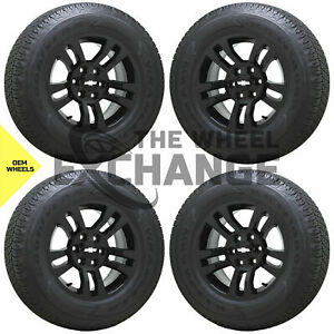 18 Sierra Silverado 1500 Truck Black Wheels Rims Tires Factory Oem Set 4 5646