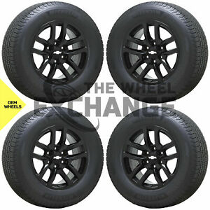 18 Silverado Tahoe 1500 Truck Black Wheels Rims Tires Factory Oem Gm Set 4 5912