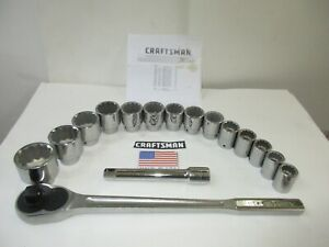 Craftsman New Old Stock 12pt 16pc Sae 3 4 Drive Socket Wrench Set Made In Usa