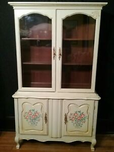 Vintage French Country Solid Maple China Cabinet Cupboard Buffet Hutch Cb Atkins