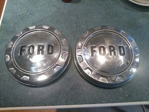 Pr Vintage Ford Pickup Truck Bronco Van Dog Dish Center Caps Hubcaps Wheel Cover
