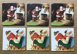 Vintage 1999 Coca-Cola Coasters ~ Santa Claus ~ Set Of 6 ~ 2 Different Christmas