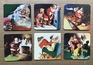 Vintage 1999 Coca-Cola Coasters ~ Santa Claus ~ Set Of 6 Different ~ Christmas