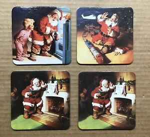 Vintage 1999 Coca-Cola Coasters ~ Santa Claus ~ Set Of 4 ~ 3 Different