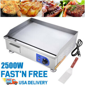 2500w Commercial Electric Countertop Griddle Flat Top Grill Plate Bbq Hotplate