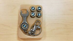 Set Of 4 New Bmw Motor Sports Wheel Tire Air Valve Cover Caps W Key Chain