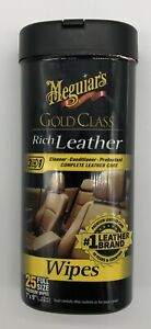 Meguiar s G10900 Gold Class Rich Leather Cleaner And Conditioner Wipes 25ct New