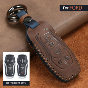 Retro Leather 5 Button Key Case Cover For Ford Mustang Fusion Lincoln Mkx Mkc
