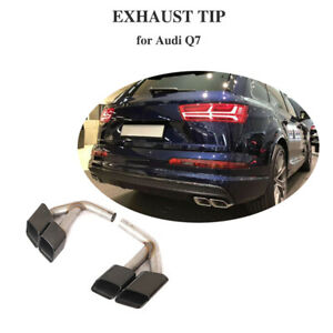 For Audi Q7 16 19 3 0 Stainless Steel Rear Exhaust Pipe Tail Throat Muffler Tip