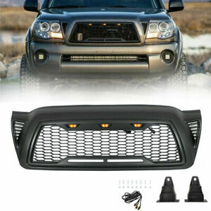Black Grill Honeycomb Hood Grille For 2005 2011 Toyota Tacoma With 3 Led Lights