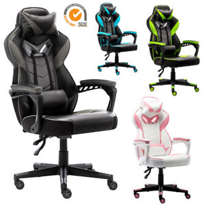 Gaming Chair Racing Style Pu Leather Office Recliner Computer Desk Seat Swivel
