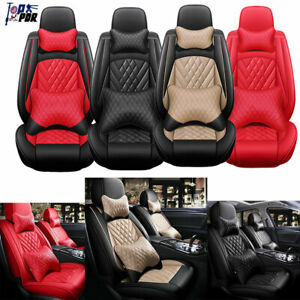 5 seat Car Seat Covers Deluxe Pu Leather Cushion Universal Protector Interior Us