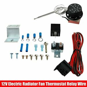 Electric Radiator Fan Thermostat Control Relay Wire Kit 12v Adjustable New