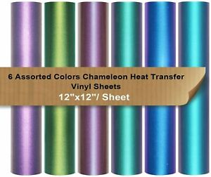 Chameleon Heat Transfer Vinyl Htv 6 Assorted 12 x12 Iron On Vinyl For Cameo