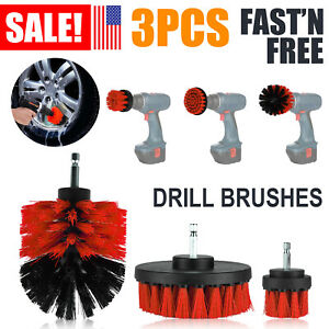 3pcs Set Car Wash Brush Cleaner Hard Bristle Drill Auto Detailing Cleaning Tools