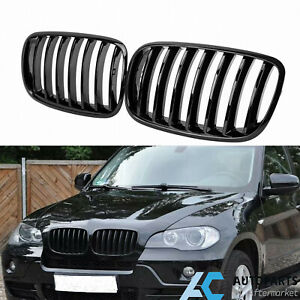 Gloss Black Single Slat Front Kidney Grille Grill For Bmw X5 E70 X6 E71 07 13