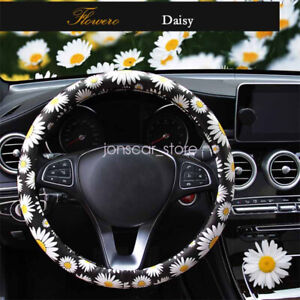 Pu Leather Daisy Auto Car Steering Wheel Cover For Women Girls Ladies Anti Slip