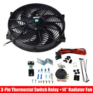 14 Electric Radiator Cooling Fan Kit 12v Black Thermostat Control Relay Wire