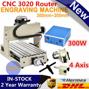 300w 4 Axis Cnc 3020 Router Engraving Engraver Wood Machine Drilling 3d Carving
